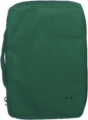 Embroidered Canvas Bible Cover, Green, Medium