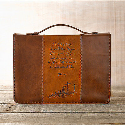 For God So Loved the World Bible Cover, Brown, Large