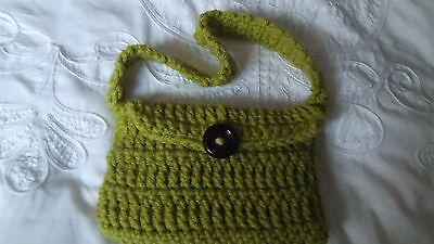 """handmade lined and crochet  bag with flap and one button fastening. 17"""" handle"""