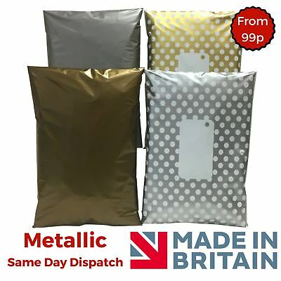 Metallic Post Postal Plastic Mailing Bags Postage Coloured Polka Dot Gold Silver