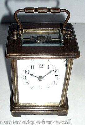 very Rare Antique French Empire Squeleton bronze beveled glass Clock officer 19t