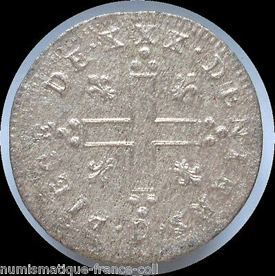 M7- Origin FRANCE, very high reliefs Silver Colonial coin XXX DENIERS 1711 D