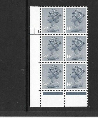 Machin - 14p PCP1/DEX - cylinder block of 6 - cyl 1 DOT - unmounted mint