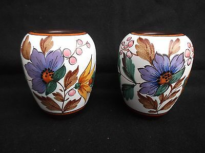 """2 Vintage Gouda Vases 4+1/2"""" Tall Made In Holland ."""