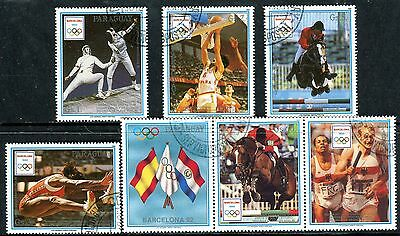 417b - Paraguay - Olympic Games - Barcelona 1992 - Horses - Used Set + Labels