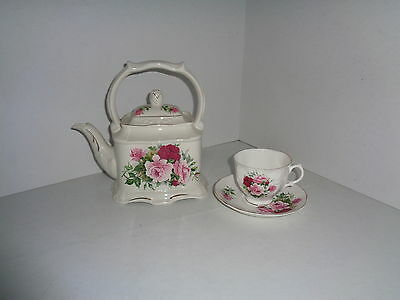 Crown Dorset Rose Teapot with Cup & Saucer Staffordshire England