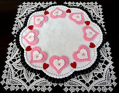"""""""Pretty in Pink Sweetheart Sparkle"""" ~ 11"""" Penny Rug ~ Candle Mat ~ Wool Felt"""