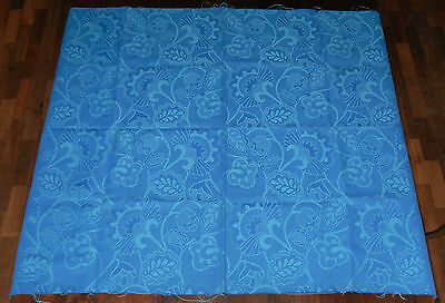 Vintage 1970s Fabric Remnant. Blue Jacquard Weave. Right/ Wrong Side Contrasts