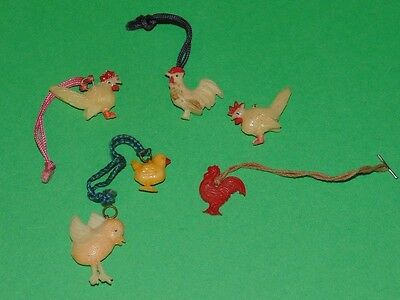 Lot of 6 Vintage 1940's Celluloid Cracker Jack Charms Chickens, Roosters, Chicks