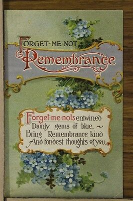 """ANTIQUE 1912 Postcard """"Forget Me Not Rememberance"""" Flowers Fond Thoughts Posted"""