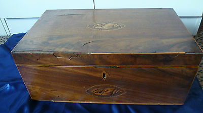 Antique 19c writing slope in mahogony veneer with inlaid shell decoration