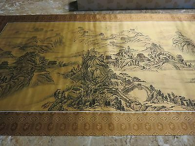 Large Chinese Silk Like Material Scroll Horizontal The Great Wall of China Boxed