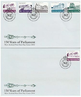New Zealand 2004 First Official Parliament Set 6 & Minisheet 3 First Day Covers