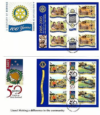 NEW ZEALAND 2005 ORGANISATIONS SET OF 3 SHEETLETS ON 3 x FIRST DAY COVERS