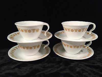 Corelle BUTTERFLY GOLD 4 Sets Hooked Cups & Saucers