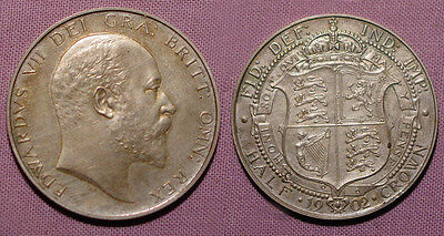 1902 KING EDWARD VII MATT PROOF SILVER HALFCROWN - Nice Example