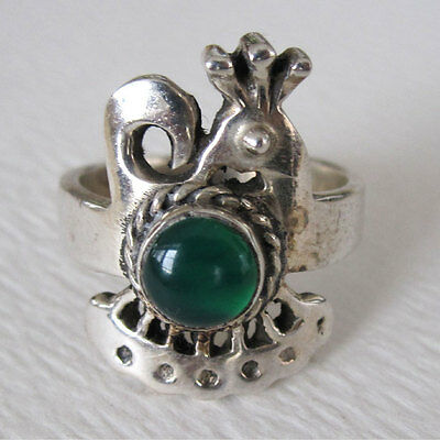 Sterling Silver Peacock  Ring Green Onyx Size 7 Thailand