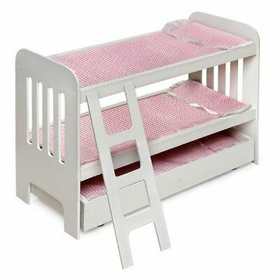 """NEW Doll Bunk Bed with Ladder and Trundle Fits Most 18"""" Dolls WHITE"""