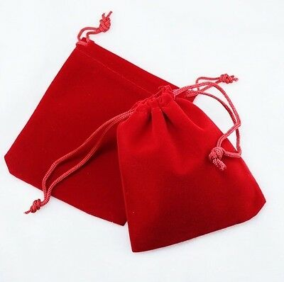 "100 Small RED GIFT Jewelry Drawstring Bags 2-1-/2"" x 3"" Flocked Velveteen Pouch"