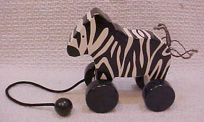 """Solid black white vintage painted wood 9"""" long Zebra pull-toy pull toy FREE S/H"""