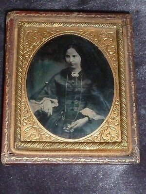 Beautiful Antique Victorian Ambrotype/Daguerrotype of Young Woman, Dated 1859