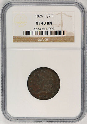 1826 Classic Head Half Cent 1/2C NGC XF 40 BN Extra Fine US Type Coin