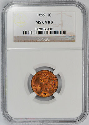 1899 Indian Cent 1C NGC MS 64 RB Uncirculated Red Brown Cert#001
