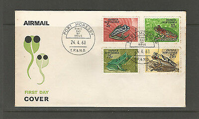 Papua New Guinea 1968 Frogs FDC, SG129-32