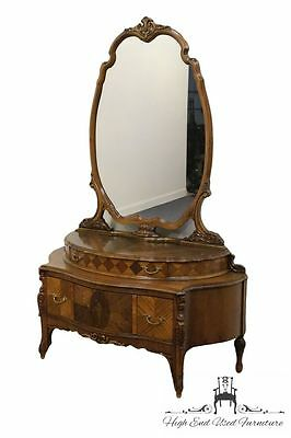 1920's Antique French Regency Floral Marquetry Vanity w/ Mirror