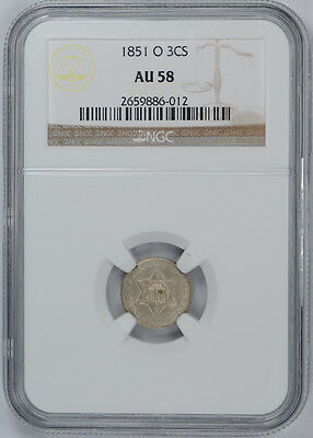 1851-O Three Cent Piece 3CS NGC AU 58 Silver Registry Set Grade Lustrous