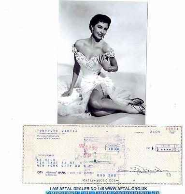 Cyd Charisse vintage signed Bank Cheque / Check AFTAL
