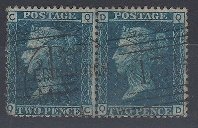 GB 1858 2d Blue Plate 8 Used Pair