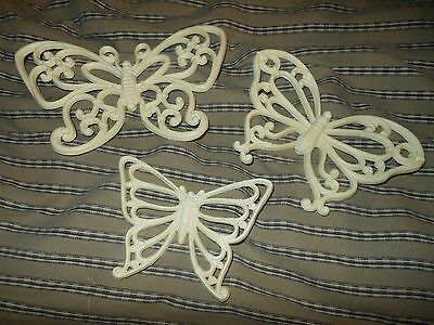 Homco Butterflies Set 3 Wall Hanging White Home Interior