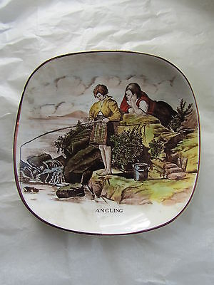 Vintage Gray's Pottery Small Shallow Dish with ANGLING Image