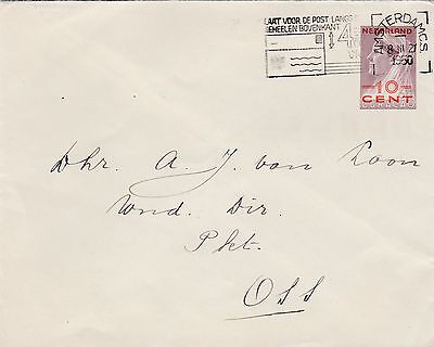 Curacao used in Netherlands 10c on 6c postal stationery Letter slogan 1950