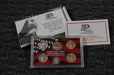 2006 United States Mint Quarters Silver Proof Set, 5 Coins in Box with COA