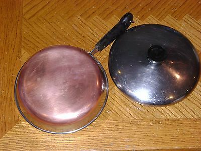 """8"""" Copper Clad REVERE WARE Stainless Steel Sauce Pan Pot with Lid Made in USA"""