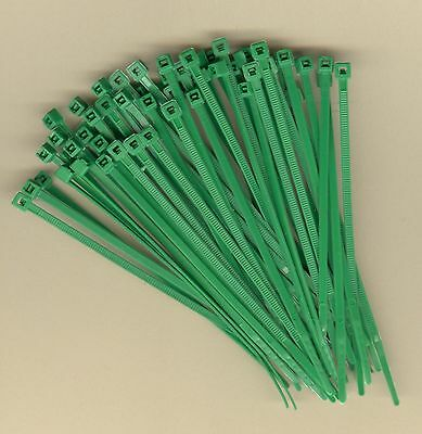 """100 4"""" Inch Long 18# Pound GREEN NYLON Cable Ties Zip Ty Wraps MADE IN USA"""