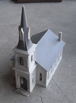 Vintage HO Scale White Gray Church Building LOOK