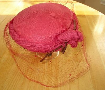 Vintage 1960's Marche Exclusive Red Woven Straw Lady's Pillbox Hat With Veil