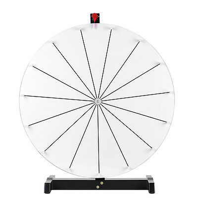 """24"""" 15 Slots White Tabletop Dry Erase Prize Wheel Durable Stand Fortune Carnival"""