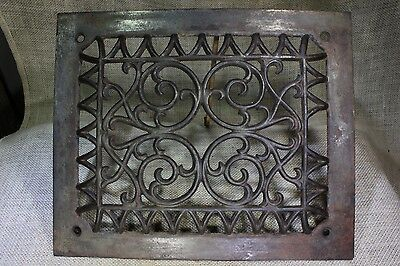 """Heat Air Grate register only old rustic 11 5/8x 9 5/8"""" raised front fancy arches"""