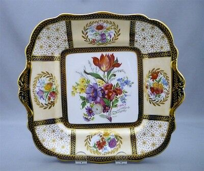 Paragon England Hand Painted & Signed Cake Cookie Plate Queen Mary Pattern