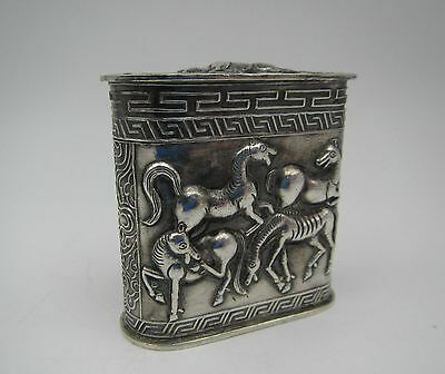 Antique China / Chinese Signed Export Silver Opium Box With Horses