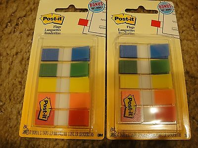 *2* PKGS 3M POST-IT FLAGS**NEW**130 CT EACH .47 X 1.7 Primary Colors