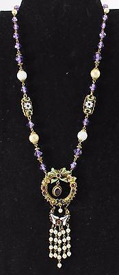 """Vtg/Antique-Faux Pearl/Enameling/Rhinestones/Beads-17""""-Attached Pendant"""
