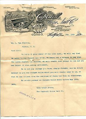 Vintage Illustrated Letterhead CAPEWELL HORSE NAIL CO Hartford CT 1894 Scarce!