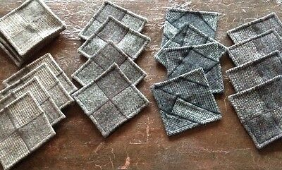 4 Harris Tweed 4 Patch or Crazy Patch Coasters, Gray and Brown Tweeds