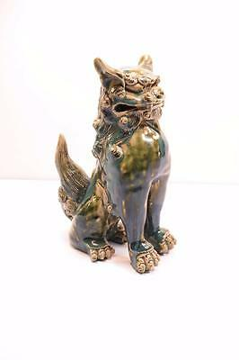 "Antique Chinese Foo Dog Ceramic Figurine 8"" Tall No Reserve"
