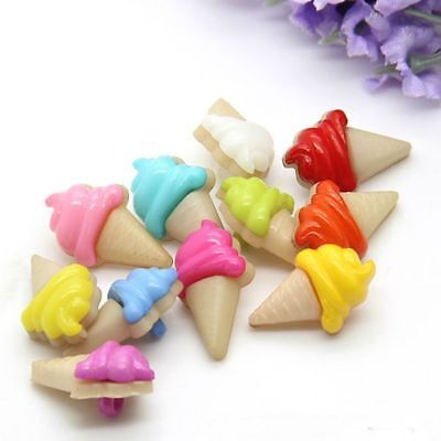 Assorted Color 100pcs/Lot Cute Ice Cream Plastic Sewing Buttons w/Hole DIY Craft